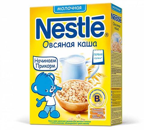 Безмолочная и молочная овсяная кашка компании Нестле в прикорме грудничка