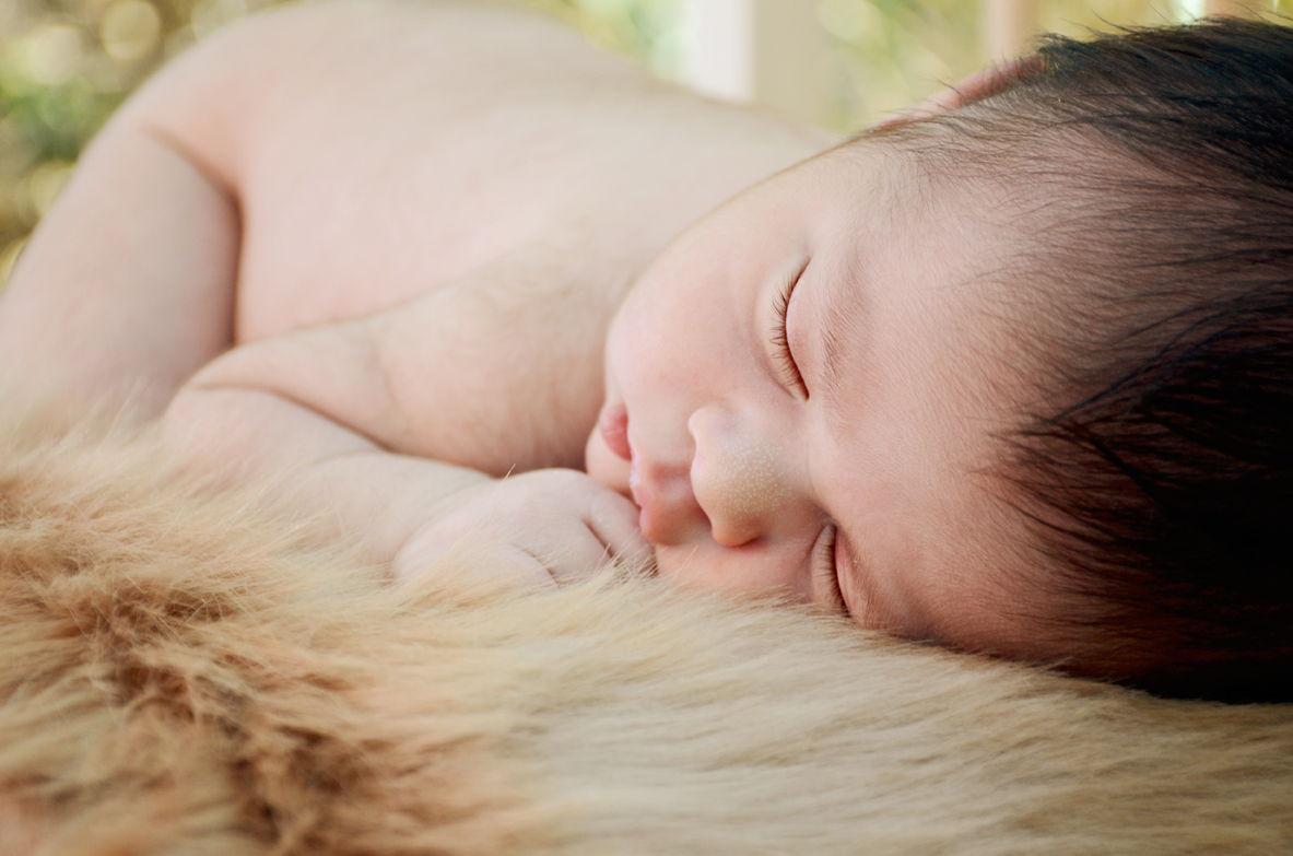 Ребенок спит на шкуре