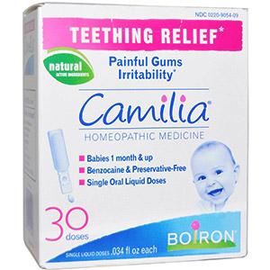 Camilia, средство для облегчения боли при прорезывании зубов от компании Boiron